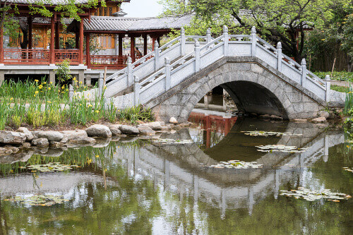 Pond and Bridge in Yueryuan Park, Dali Old Town, Yunnan Province, China