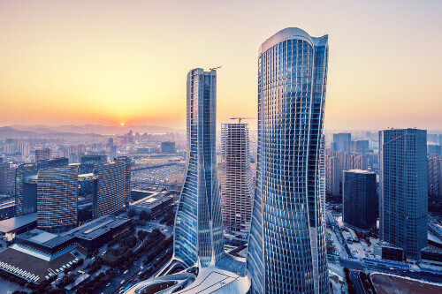 Modern high-rise buildings during sunrise in Hangzhou China