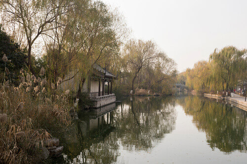 View of the river and bridge in autumn in Jinan Shandong province China