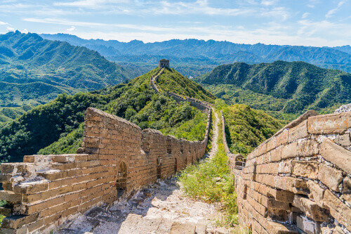 An unrestored section of The Great Wall of China looking towards Simatai