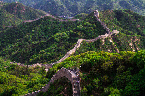 Carved into the mountains a view of the Great Wall of China