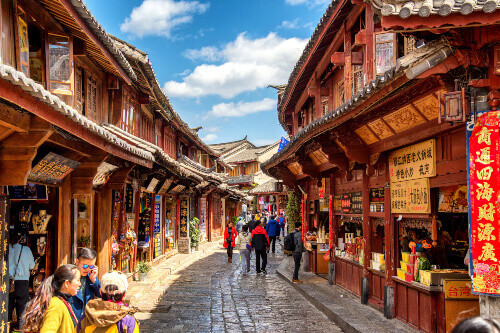 Tourist travel and sightseeing at old town of Lijiang. Lijiang is most popular travel destination in Yunnan province in West China