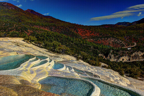 White Water Terraces or Baishuitai in the Shangri-la in Yunnan China