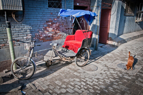 Rickshaws waiting for passengers in Beijings old town hutongs located in China
