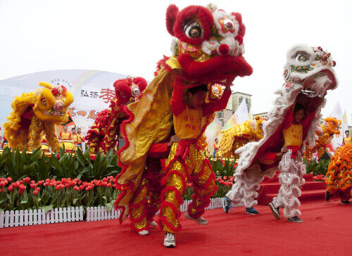 Chinese New Year Lion Dance in Foshan City in China