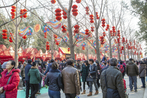 Large Spring Festival Red Lanterns Chinese New Year Decorations Gate Ditan Park in Beijing China
