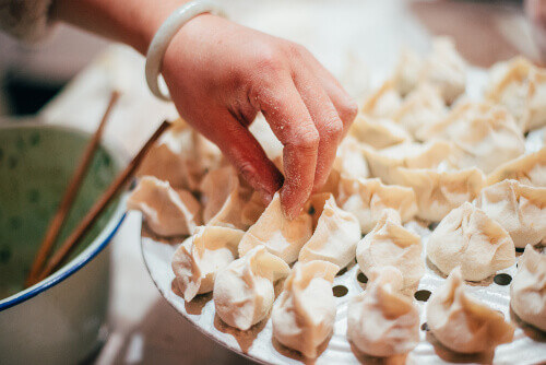 Making Chinese dumplings for Chinese New Year in China