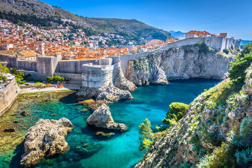 Aerial view of the old town wall in Dubrovnik Croatia