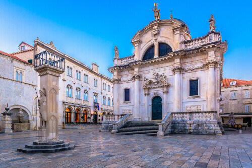 Scenic view of the famous sightseeing public landmark in Dubrovnik city, St. Blaise Church in Croatia