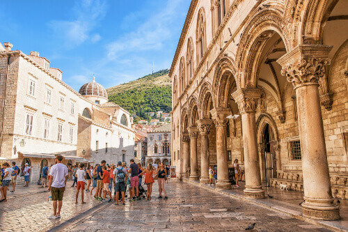 Tourists at the Rectors Palace on Stradun Street in the Old city of Dubrovnik in Croatia