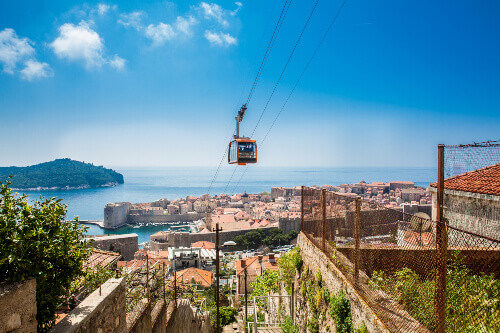 View of Dubrovnik city and cable car taken from Mount Srd in Dubrovnik Croatia