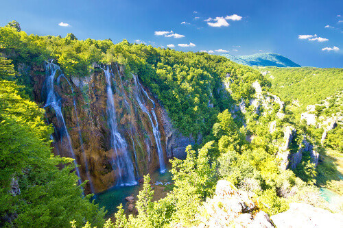 Biggest waterfall in Plitvice National Park called Veliki Slap in Plitvice National Park in Croatia