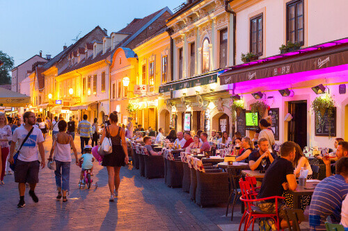 Locals and tourists having a dinner at restaurants at Ivana Racica street. Zagreb is a capital and famous tourist destination in Croatia