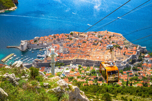 Cable car going up Srd mountain in the old town of Dubrovnik in Croatia