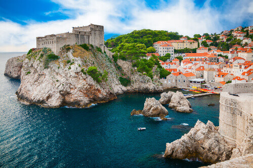 Fort Lovrijenac and the part of old town in Dubrovnik Croatia. It is a part of the Game of Thrones tour