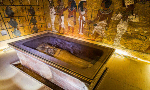 King Tutankhamun's Tomb with wall hieroglyphics