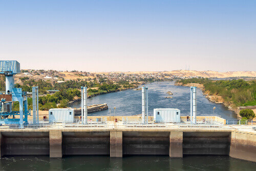 The High Dam in Aswan for hydroelectric power generation in Egypt
