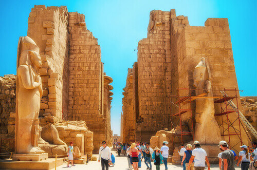 Temple complex of Amun Re God in ancient Thebes town in Luxor Egypt