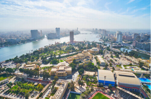 Aerial view of Gezira Island with Opera House and museums and the banks of Nile river in Cairo and Giza Egypt