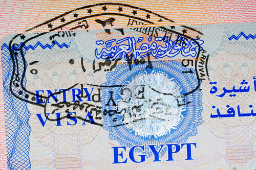 Entry visa and passport stamp for Egypt