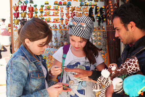 Tourists buy souvenirs on egyptian oriental market Sharm el Sheikh in Egypt