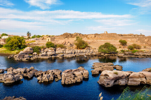 The banks of the Nile River in Aswan Egypt