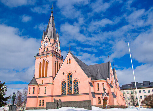 Front view of the Pink church in Kemi Finland