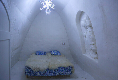 Unique beautifully decorated snow room in Snow Hotel at Snow Castle in Kemi Finland