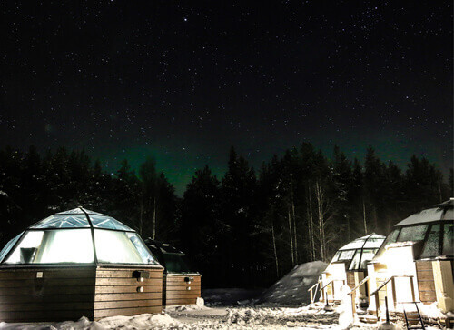 Stargazing at the Arctic Snow Hotel Sinetta Finland