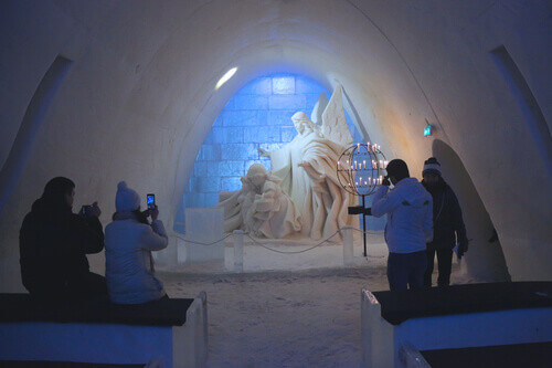 Beautifully decorated Snow Chapel at Snow Castle in Kemi Finland