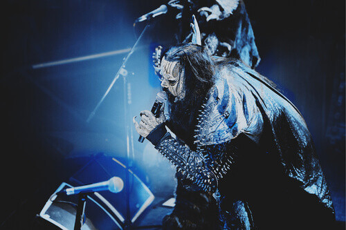Metal band Lordi performs on stage