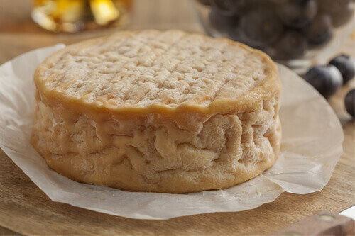Whole french creamy ripe Epoisses cheese close up in Burgundy France