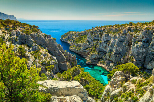 Breathtaking viewpoint on the cliffs in Calanques National Park in France