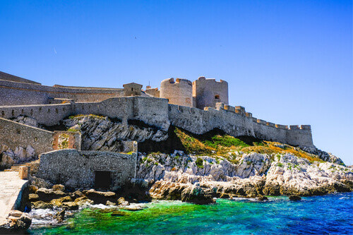 Chateau dIf is a famous prison on island in the Bay of Marseille in France