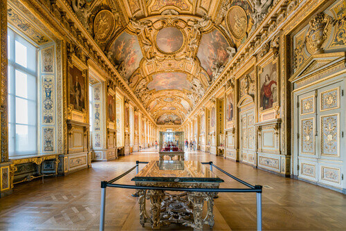 Interior view of the famous Louvre Museum in Paris France