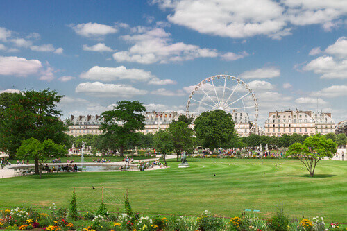Spring in Garden of the Tuileries which is one of most famous parks in Paris France