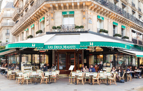 The cafe Les Deux magots located at the corner of boulevard Saint Germain and rue Saint Benoit in Paris France