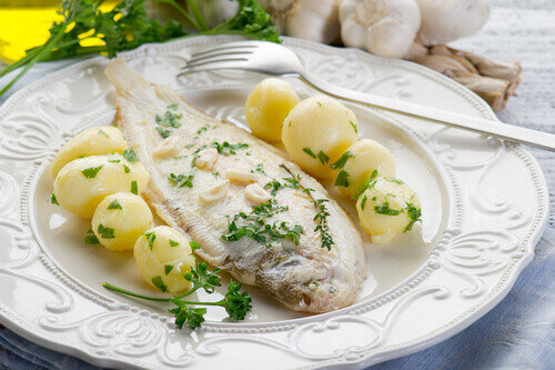 Sole Meuniere a french dish with potatoes
