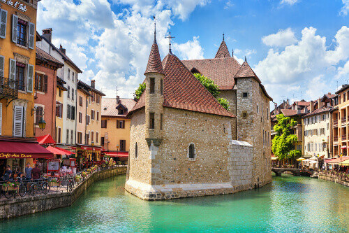 The Island Palace is a medieval castle on the canal in Annecy.