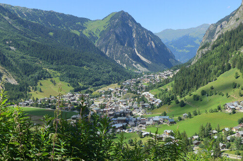 The high mountains in the town of Pralognan-la-vanoise in France