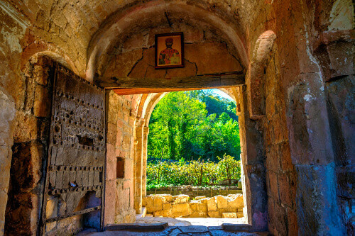 View through the medieval door at the Gelati Monastery.