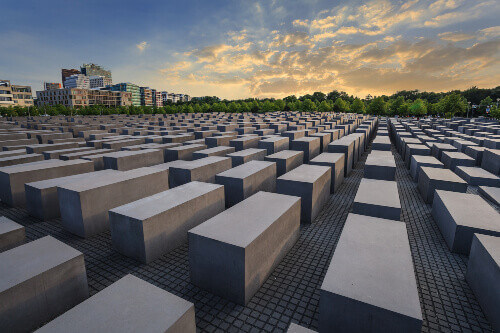 Jewish Holocaust Memorial museum and Berlin city skyline in Berlin Germany