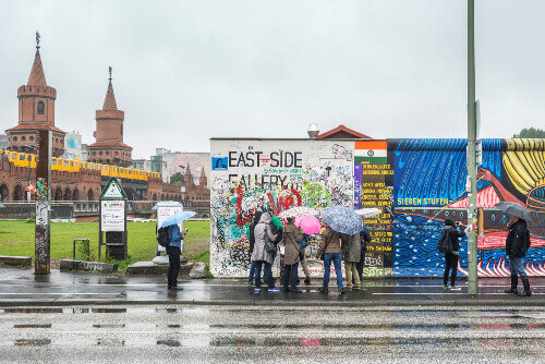 The East Side Gallery is an international memorial with paintings by artists from all over the world in Berlin Germany