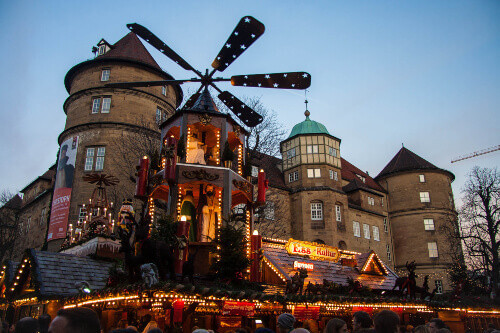 Christmas market with beautiful colorful light installations in the Old Castle in the historical center of Stuttgart in Germany