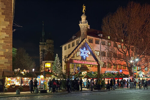 Entrance to Christmas market at Schillerplatz square close to Collegiate Church and Old Castle in Stuttgart Germany