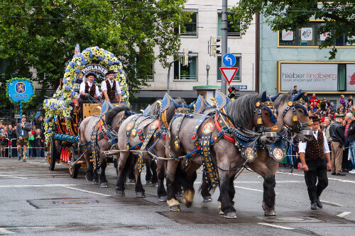Opening of Oktoberfest, the horse carriage takes part in the procession in Munich Germany