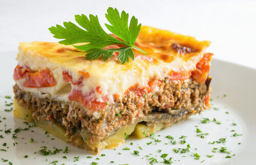 Layered Greek moussaka with beshamel