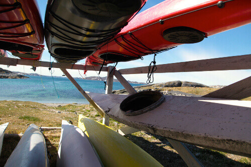 Artistic kayaks in Nuuk the capital city of Greenland