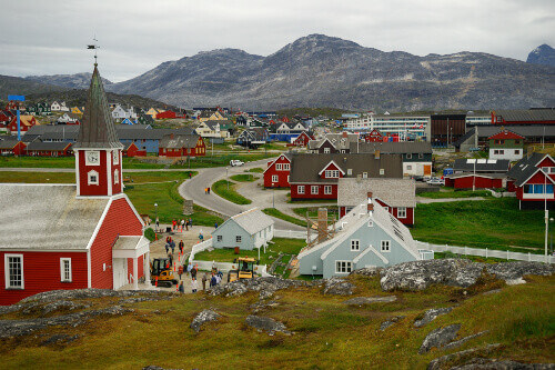 Busy sidestreets and great landmarks in Nuuk, Greenland