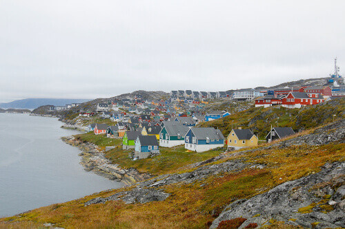 Grey skies and colourful houses in Nuuk, Greenland